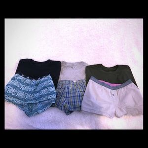 Pajamas shorts with t-shirts included for free!!